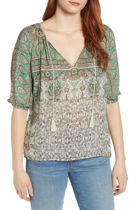 35d7f6a3921159 Lucky Brand Kelly Print Peasant Top
