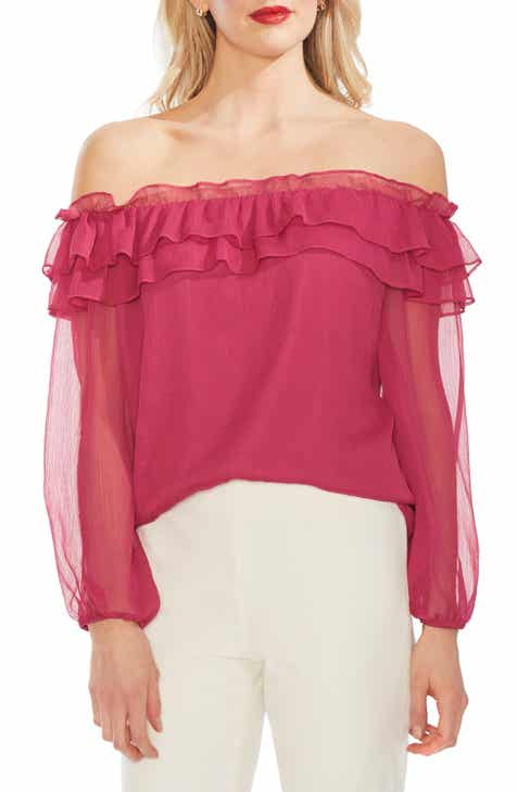 a0965a64e04560 Vince Camuto Ruffle Off the Shoulder Top (Regular & Petite)