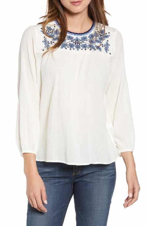 2ac9998dd97ad Lucky Brand Embroidered Cotton Peasant Top
