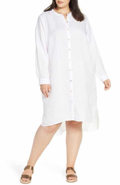 699a39d7fd Eileen Fisher Button Down Organic Linen Shirtdress (Plus Size)