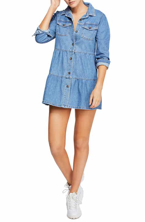 d352468f911b Free People Nicole Long Sleeve Denim Shirtdress