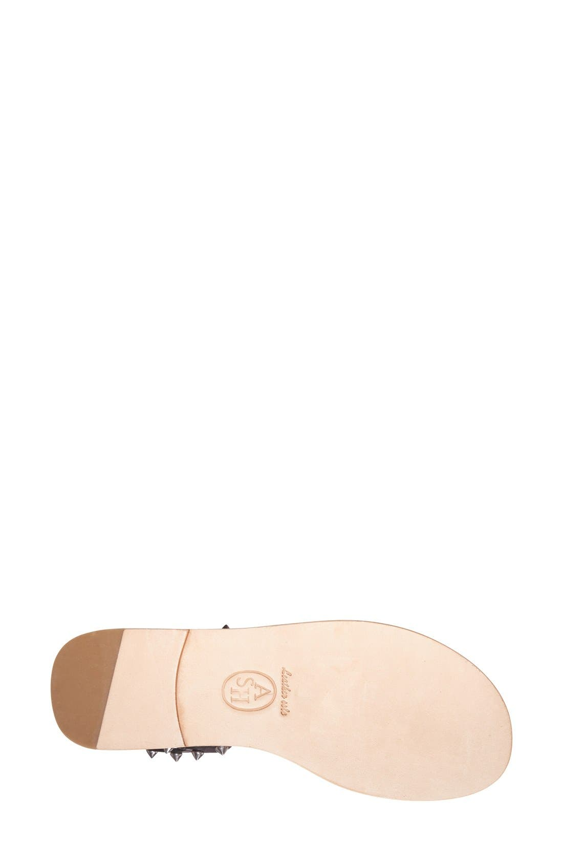 'Pearl' Studded Leather Sandal,                             Alternate thumbnail 4, color,                             Black/ Black