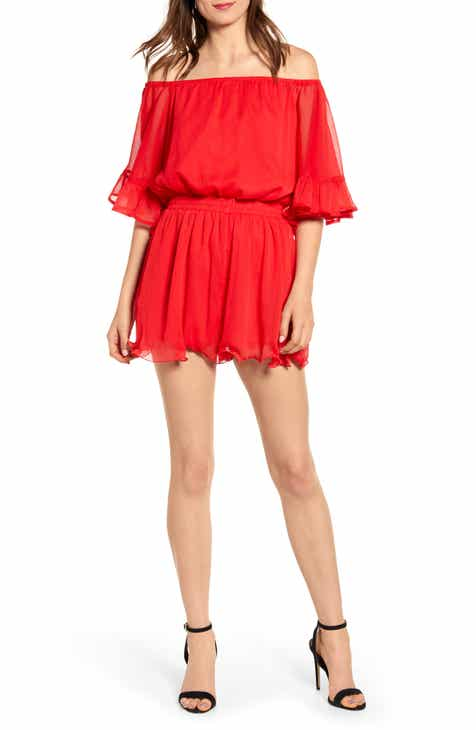 Sale Endless Rose Off the Shoulder Ruffle Sleeve Romper