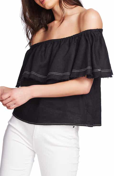 bfdba597662 STATE Off the Shoulder Frayed Popover Linen Top
