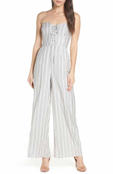 Love, Fire Stripe Belted Jumpsuit by LOVE FIRE
