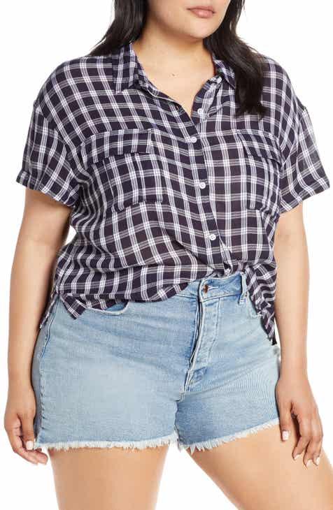 0225e3a82c85b6 Drop Shoulder Plaid Shirt (Plus Size)