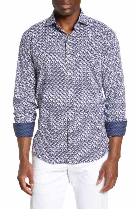 Bugatchi Shaped Fit Print Performance Sport Shirt