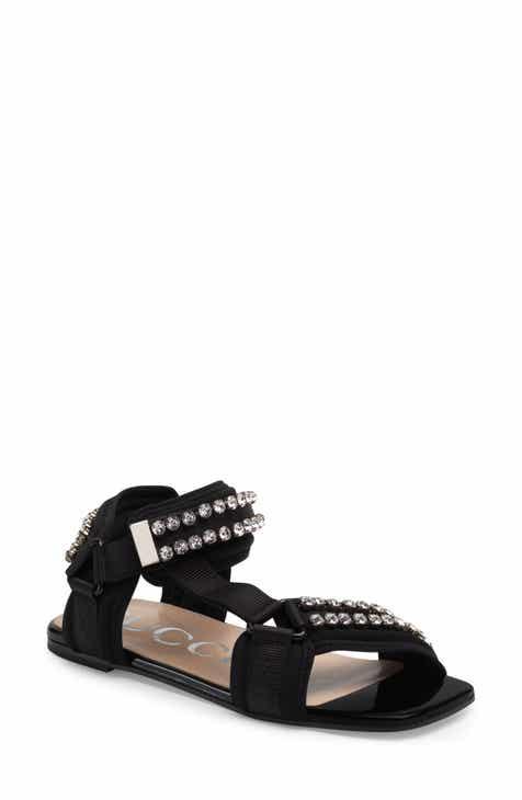 c8e694c1cb19 Gucci Shea Crystal Embellished Flat Sandal (Women)