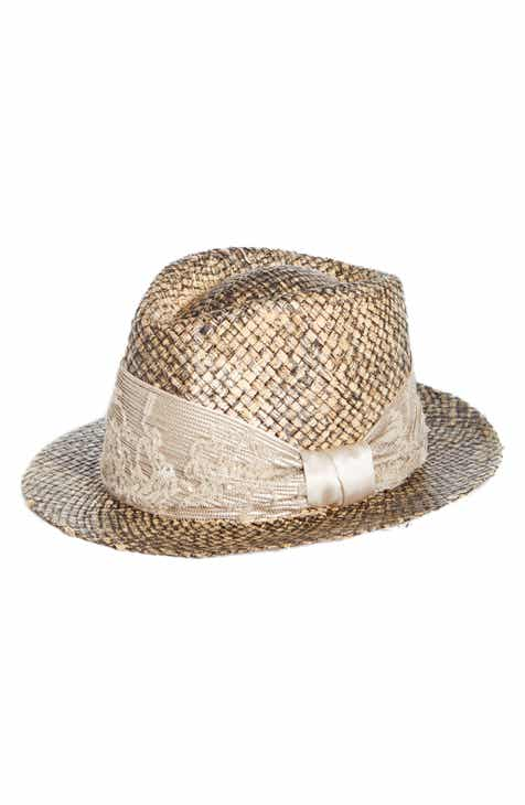 6014a2edefe3a Brunello Cucinelli Floral Sequin   Monili Embroidered Straw Fedora