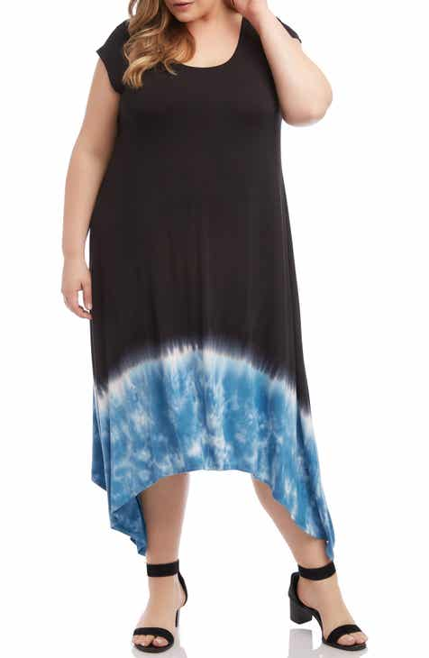 Karen Kane Handkerchief Hem Midi Dress (Plus Size)