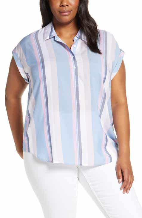 f6df1ed50f4d17 Vince Camuto Sunset Stripe Henley Shirt (Plus Size)