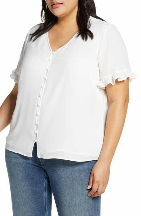7c7fa7a427ae8e CeCe Ruffle Sleeve Top (Plus Size)