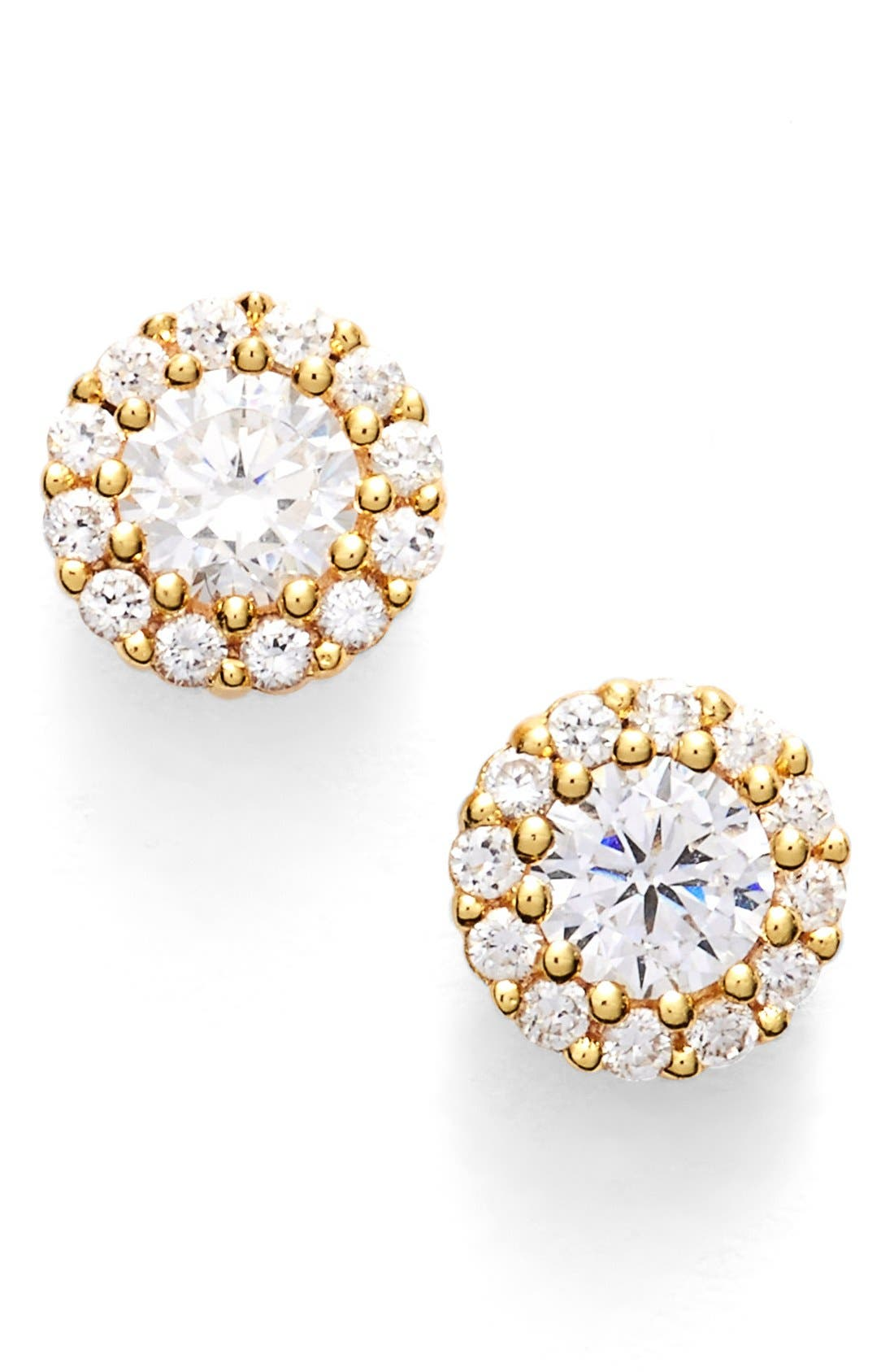 Precious Metal Plated Cubic Zirconia Stud Earrings,                         Main,                         color, Gold