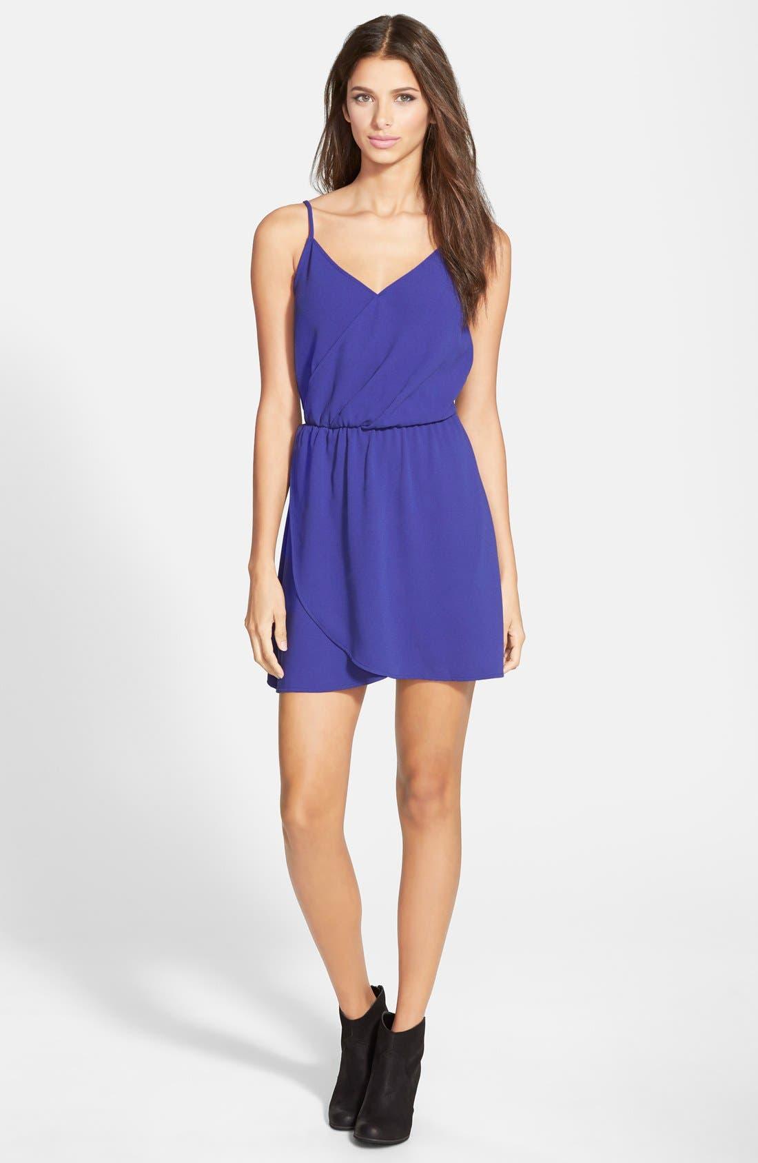 Wrap Front Dress,                             Main thumbnail 1, color,                             Blue Spectrum