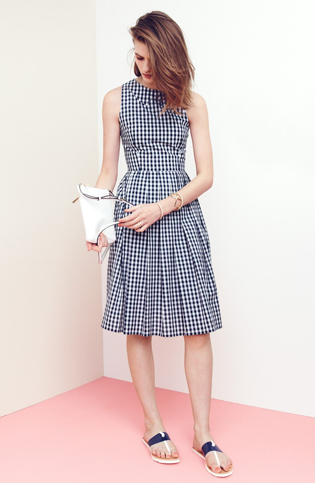 Alternate Image 4  - Kaya & Sloane Gingham Cotton Fit & Flare Midi Dress