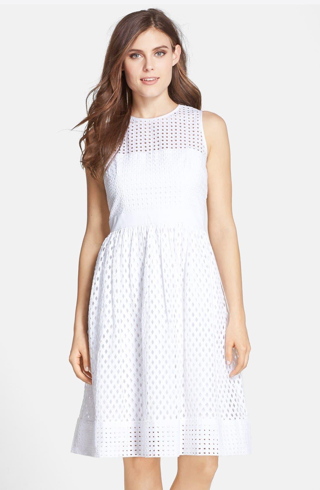 Main Image - Eliza J Cotton Eyelet Fit & Flare Dress (Regular & Petite)