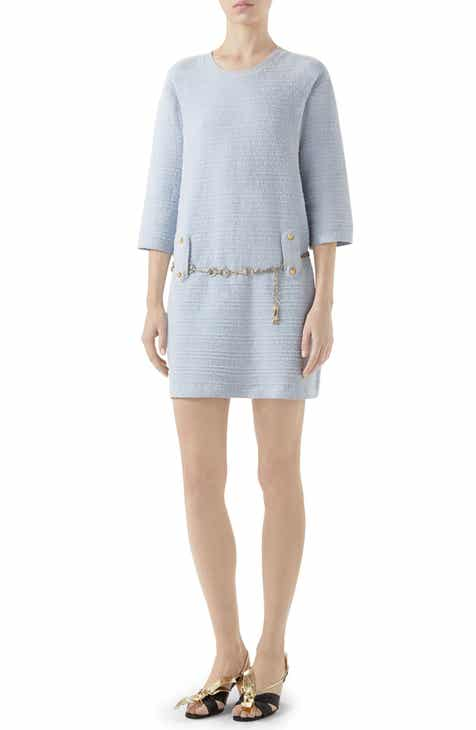 5b03e2583f55 Gucci Belted Cotton Blend Sweater Dress