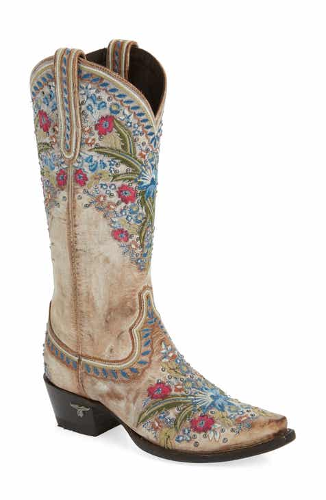 2ec6e2e30f9 LANE BOOTS Chloe Floral Embroidered Western Boot (Women)