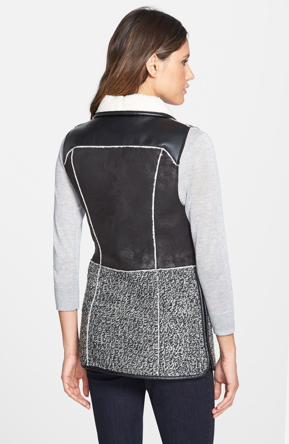 Alternate Image 2  - T Tahari 'Loey' Mixed Media Faux Shearling Vest