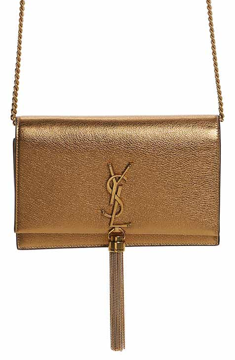 66e552513cc4 Saint Laurent Kate Leather Wallet on a Chain