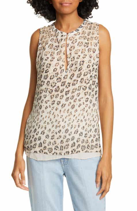 Joie Corie Leopard Print Sleeveless Silk Top