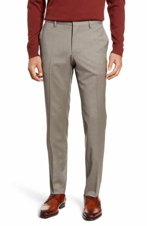 49accbcf9392 BOSS Genesis Flat Front Slim Fit Solid Wool Trousers. Sale:$149.90