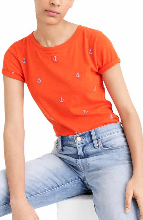 J.Crew Embroidered Anchor Tee (Regular & Plus Size)
