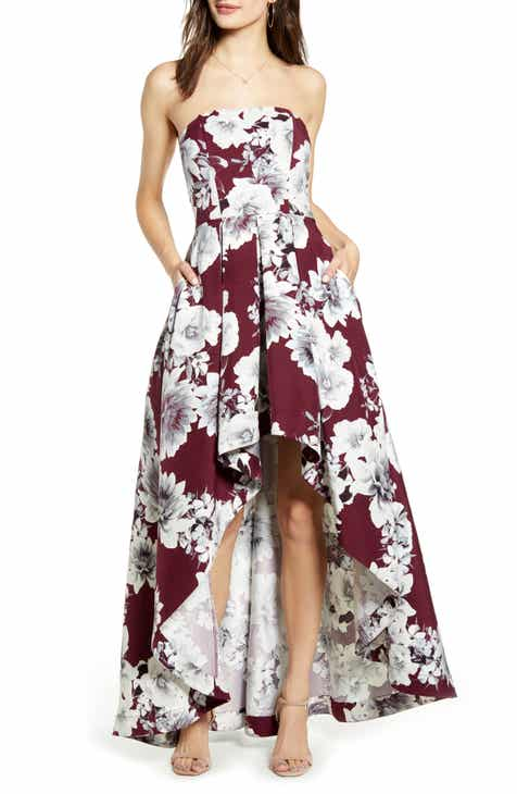 47d57a3bac0 Speechless Floral Print Strapless High/Low Dress