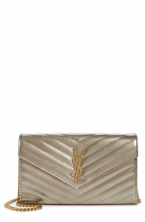 1da88fda9ed Saint Laurent Monogramme Quilted Metallic Leather Wallet on a Chain