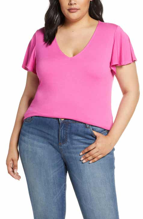 202567f8f707 Gibson x Hot Summer Nights Roselyn Flutter Sleeve V-Neck Tee (Plus Size)  (Nordstrom Exclusive)