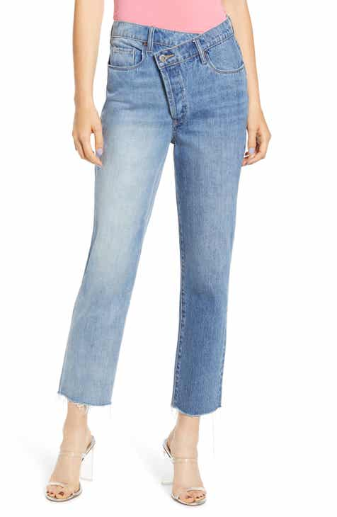 BLANKNYC Wrap Front High Waist Straight Leg Jeans (Showstopper)