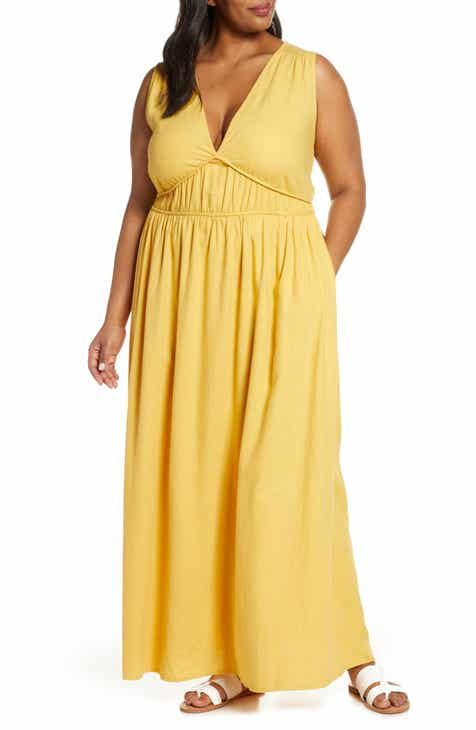 Caslon® Favorite Linen Blend Maxi Dress (Plus Size)