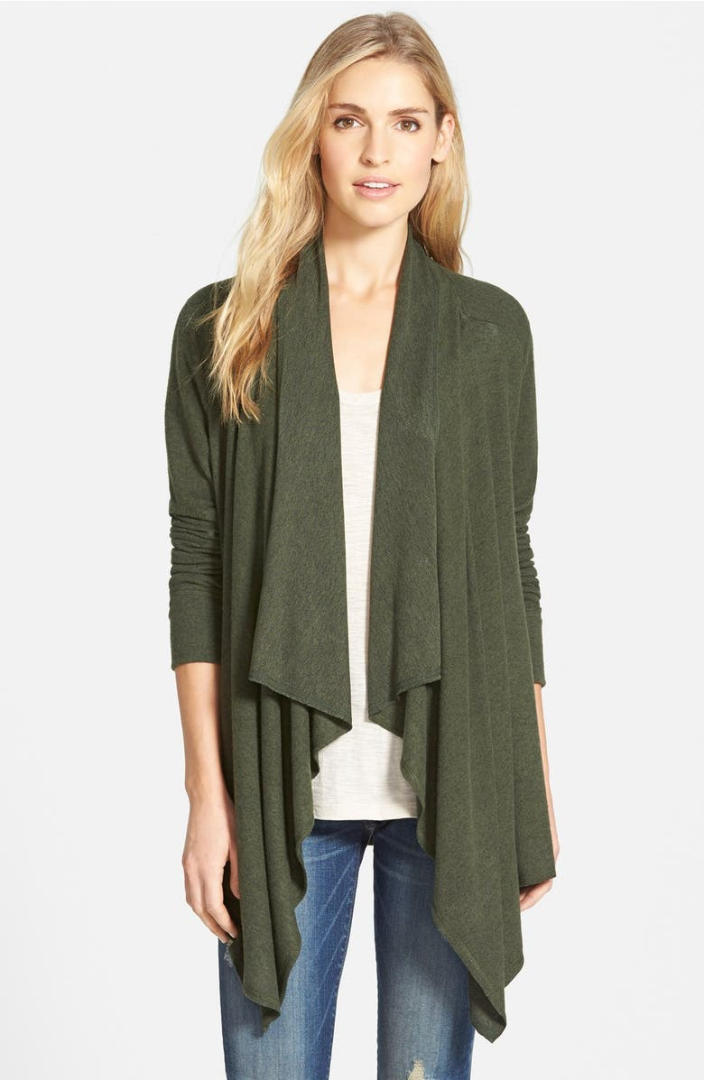 leather dgy draped cgn hah tp trim open w off drapes cardigan first fashion bodilove front charcoal products faux store