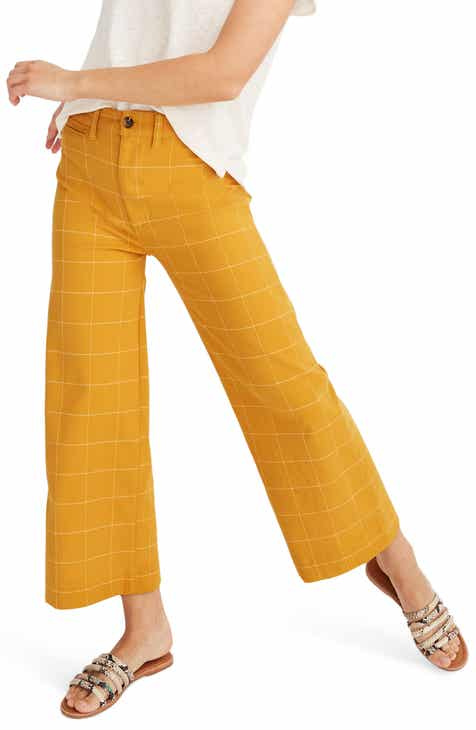 c7149e4be Madewell Emmett Windowpane Crop Wide Leg Pants