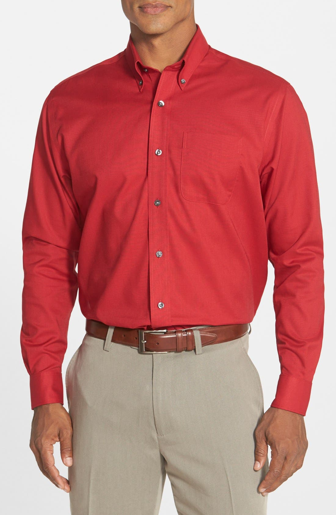 'Nailshead' Classic Fit Sport Shirt,                         Main,                         color, Cardinal Red