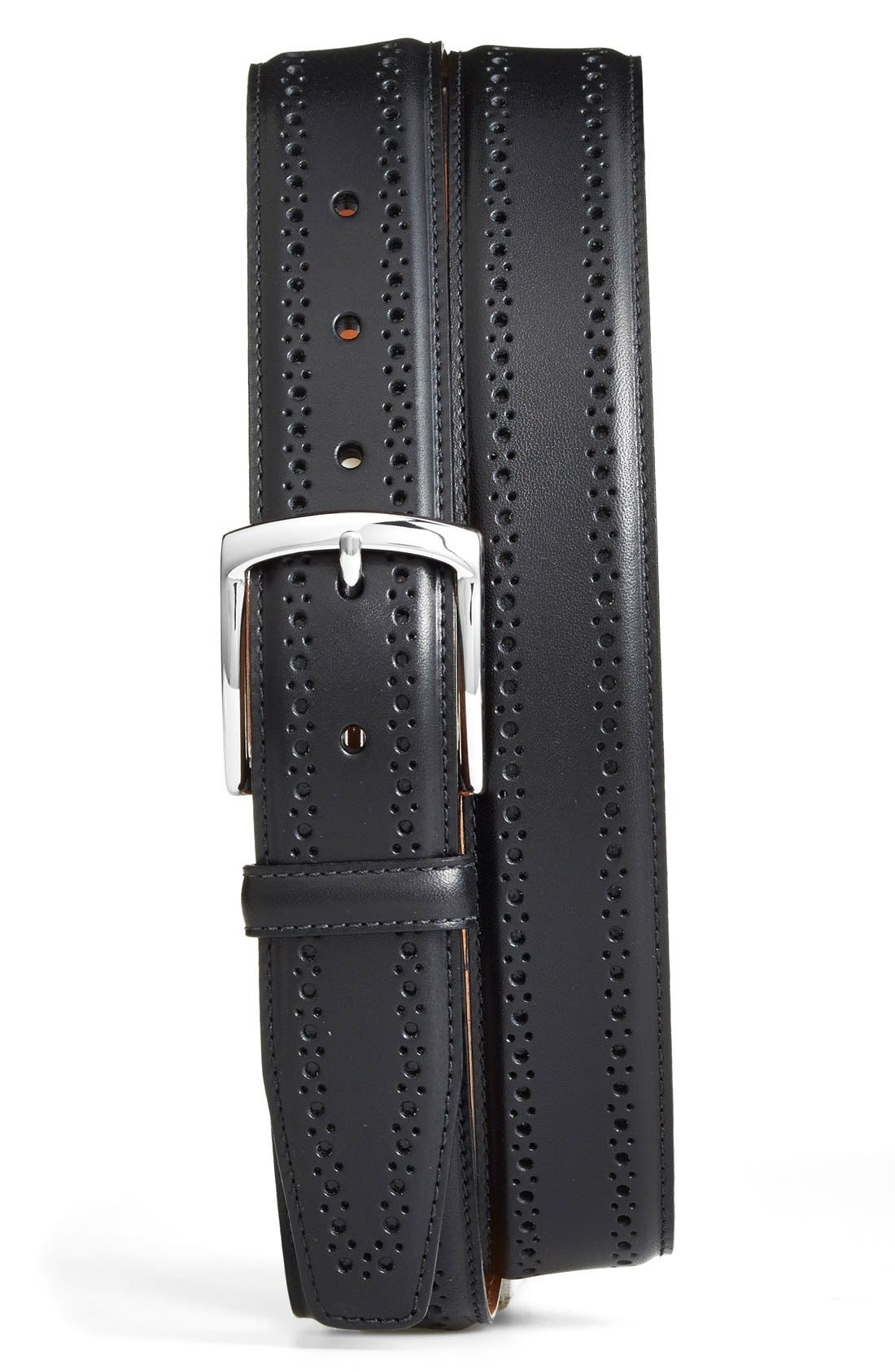 Manistee Brogue Leather Belt,                         Main,                         color, Black