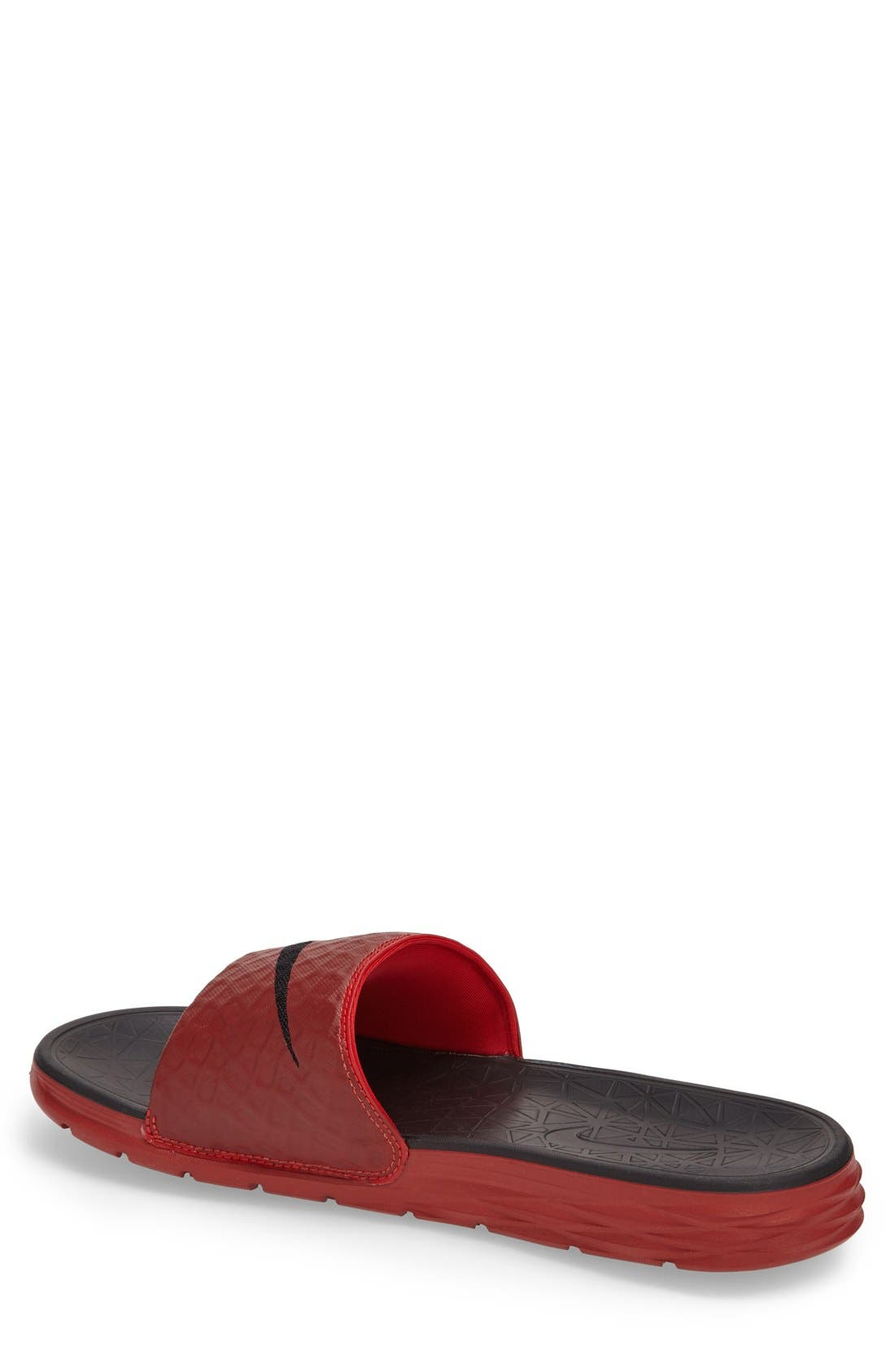 'Benassi Solarsoft 2' Slide Sandal,                             Alternate thumbnail 2, color,                             University Red/ Black