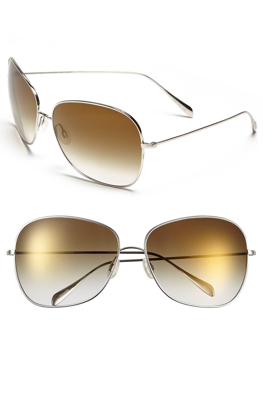 Elsie 64mm Oversize Metal Sunglasses,                         Main,                         color, Silver/ Bronze Flash Mirror