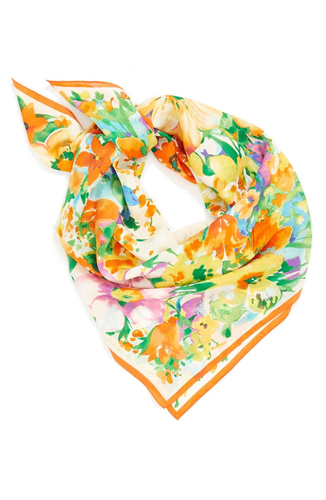 Floral Print Silk Square Scarf,                             Main thumbnail 1, color,                             Pearl
