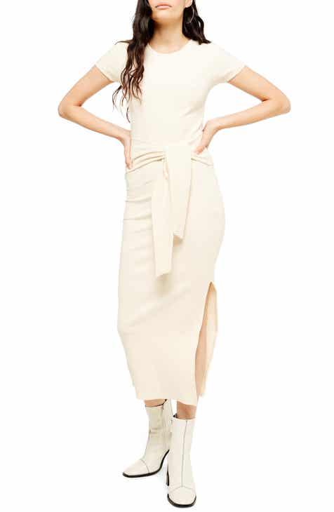 Topshop Ribbed Belted Column Dress