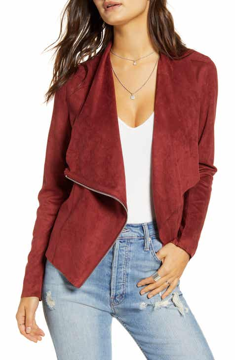 BLANKNYC Faux Suede Drape Front Jacket (Regular & Plus Size)