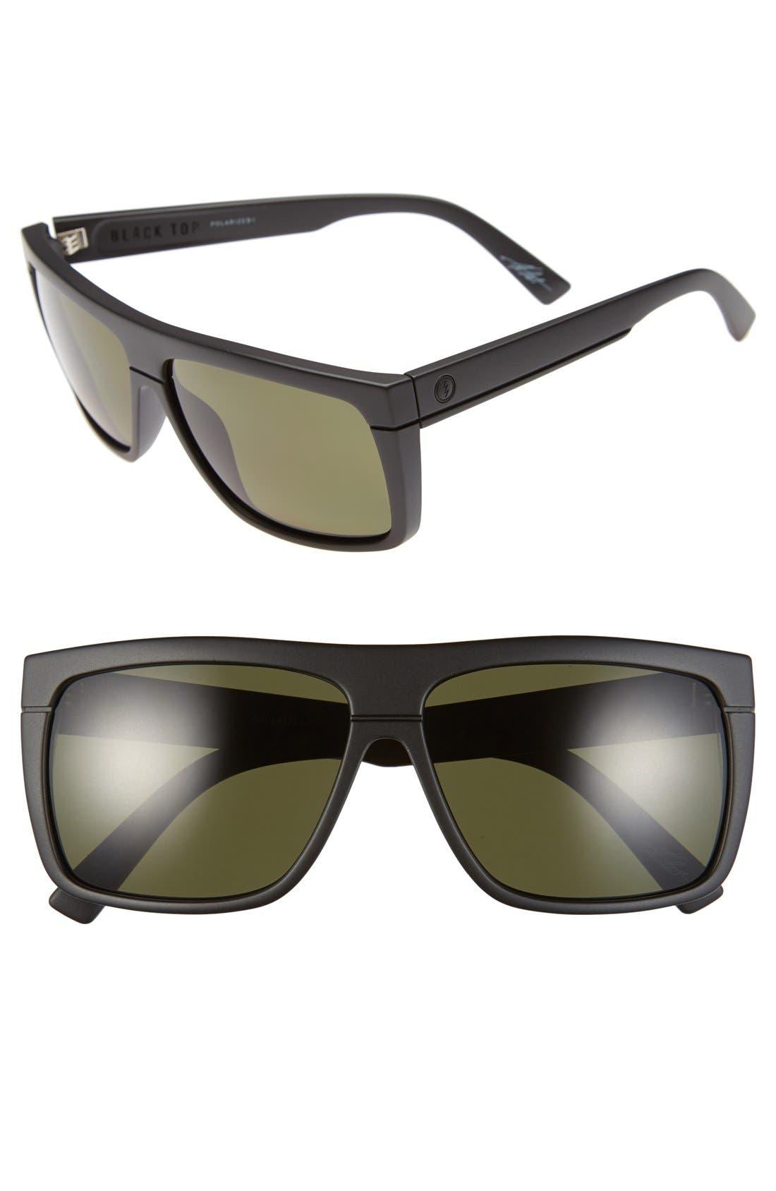 ELECTRIC 'Black Top' 60mm Polarized Flat Top Sunglasses
