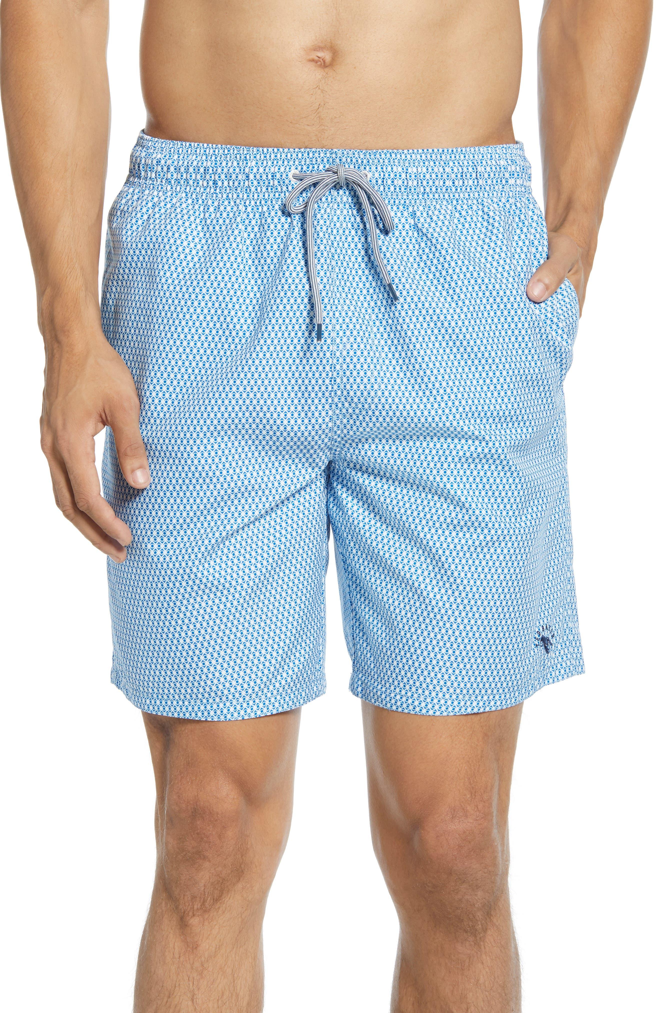 NEW Hurley teal blue stripe boys youth swim board shorts swimsuit sz 4 6 7