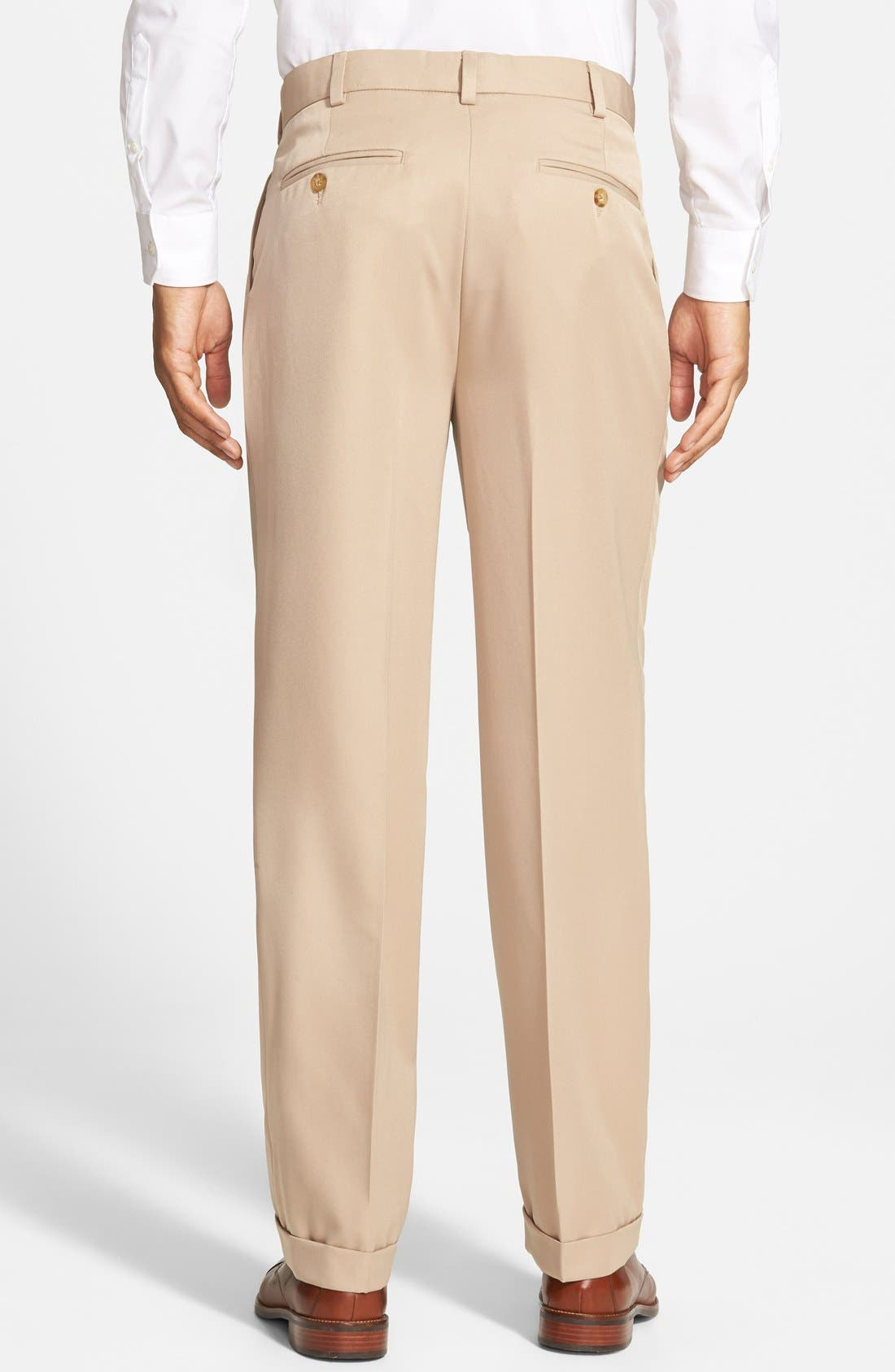 Self Sizer Waist Pleated Trousers,                             Alternate thumbnail 3, color,                             Tan