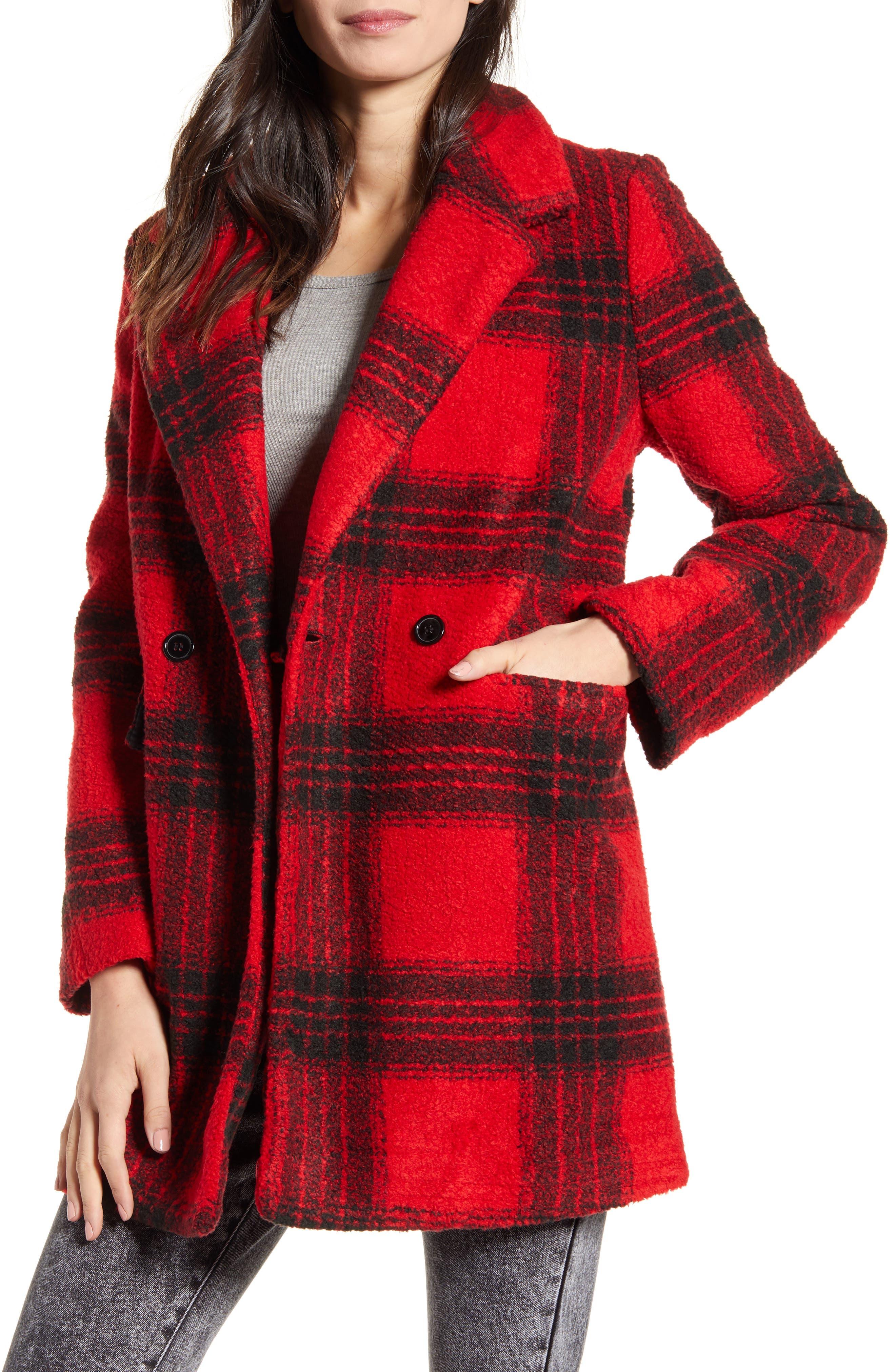 NEW Womens IKE BEHAR Black Checks Faux Mink Dressy Jacket Coat Size Large L