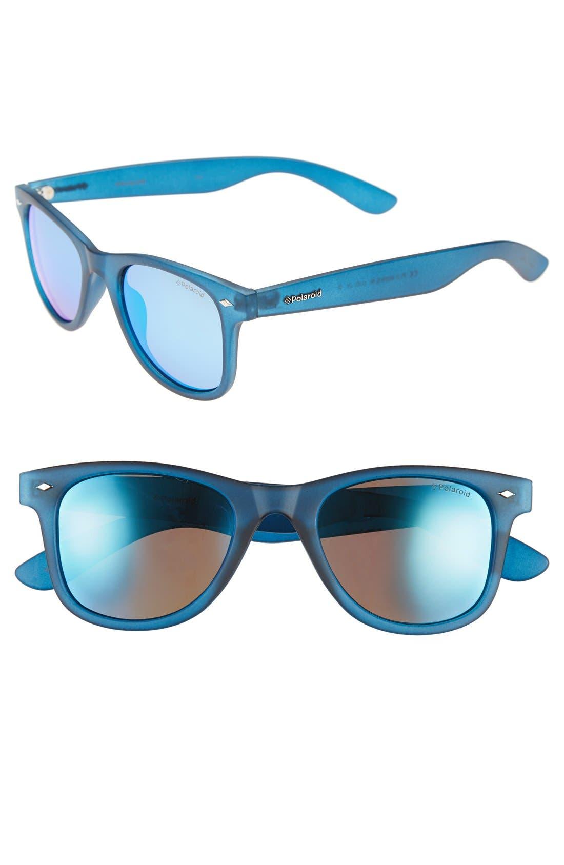 '6009SM' 50mm Polarized Retro Sunglasses,                             Main thumbnail 1, color,                             Blue Transparent/ Blue Morror