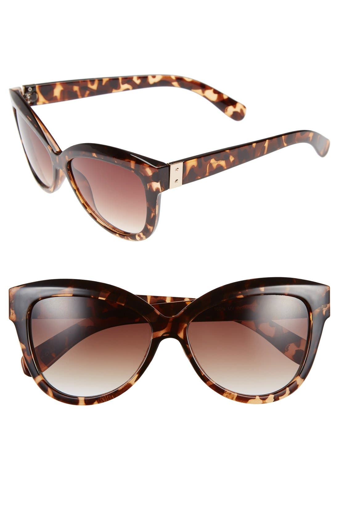 60mm Round Sunglasses,                         Main,                         color, Tortoise