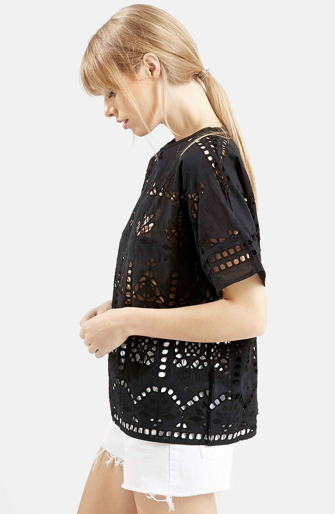 Alternate Image 5  - Topshop Embroidered Cutout Tee