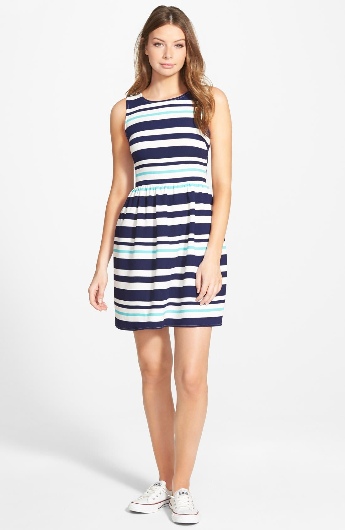 Alternate Image 1 Selected - Everly Stripe Skater Dress
