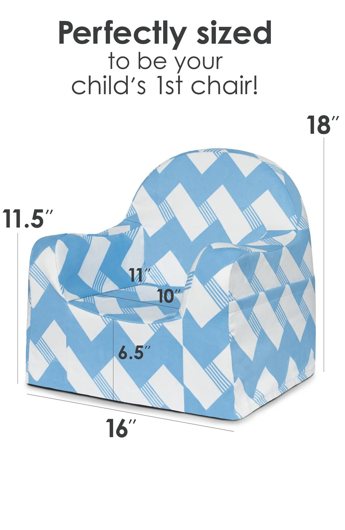 'Personalized Little Reader' Chair,                             Alternate thumbnail 4, color,                             Zigzag Blue